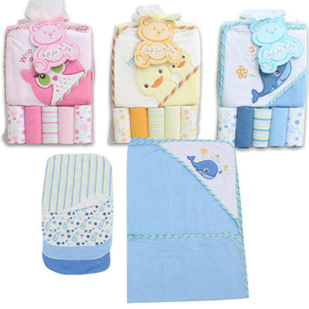 baby bath hooded towel w washcloths 6pc gift set blue whale pink owl yellow duck ebay. Black Bedroom Furniture Sets. Home Design Ideas
