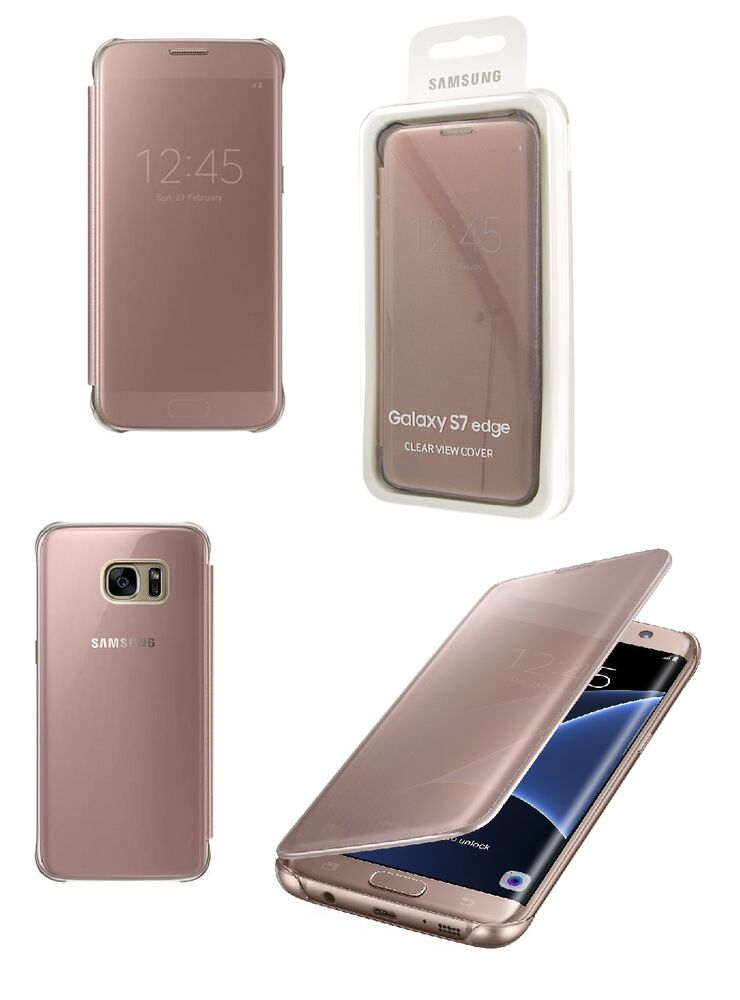 genuine official samsung galaxy s7 edge rose gold pink clear view case cover ebay. Black Bedroom Furniture Sets. Home Design Ideas