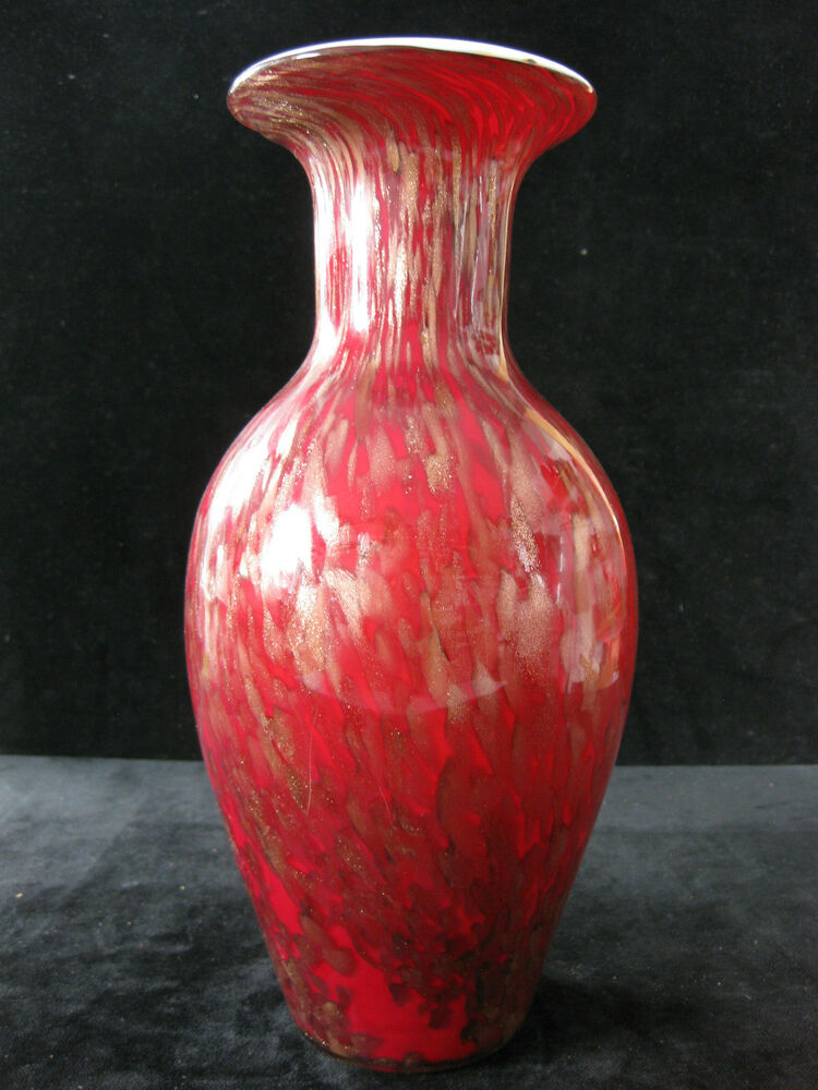 murano glas vase v nason c rotes glas mit kupferfarbenem aventurin ebay. Black Bedroom Furniture Sets. Home Design Ideas