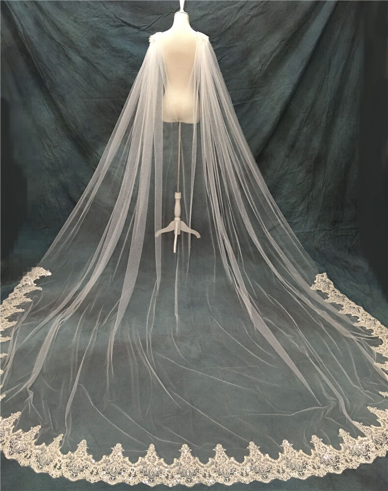 White Ivory Cathedral Bridal Cape Cloak Sequin Lace Long ...