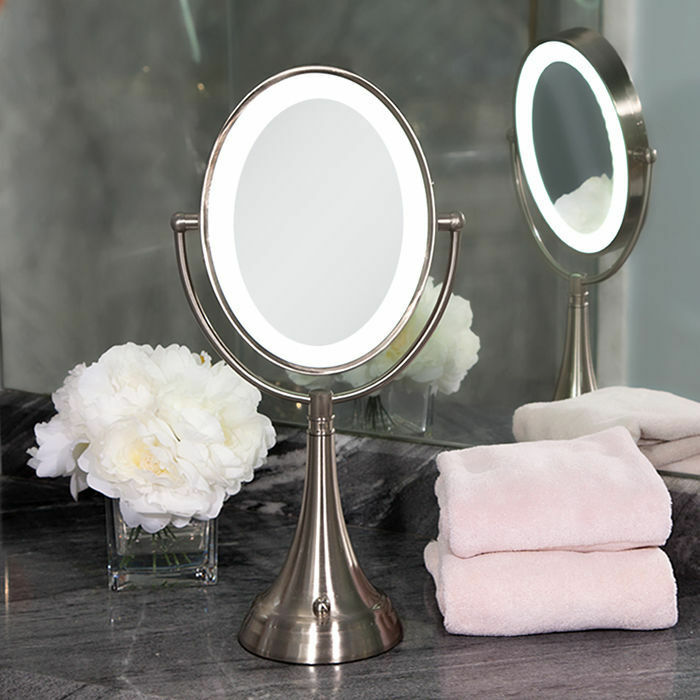 lighted bathroom mirrors magnifying zadro dual sided led lighted oval magnifying vanity mirror 19261