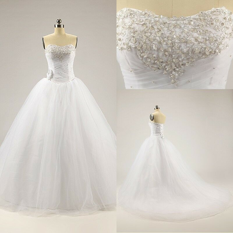 Cheap white ivory beaded strapless ball gown tulle corset for Ivory beaded wedding dress