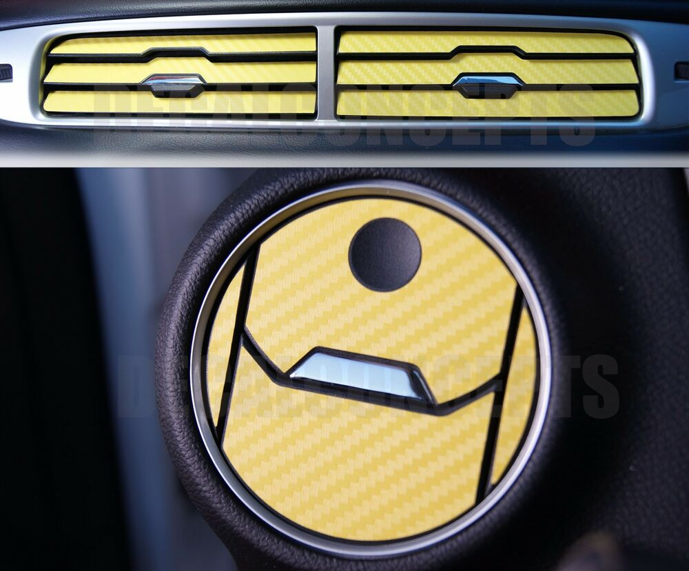 2010 2015 camaro yellow carbon fiber interior vent decal kit chevy cover a c ebay. Black Bedroom Furniture Sets. Home Design Ideas