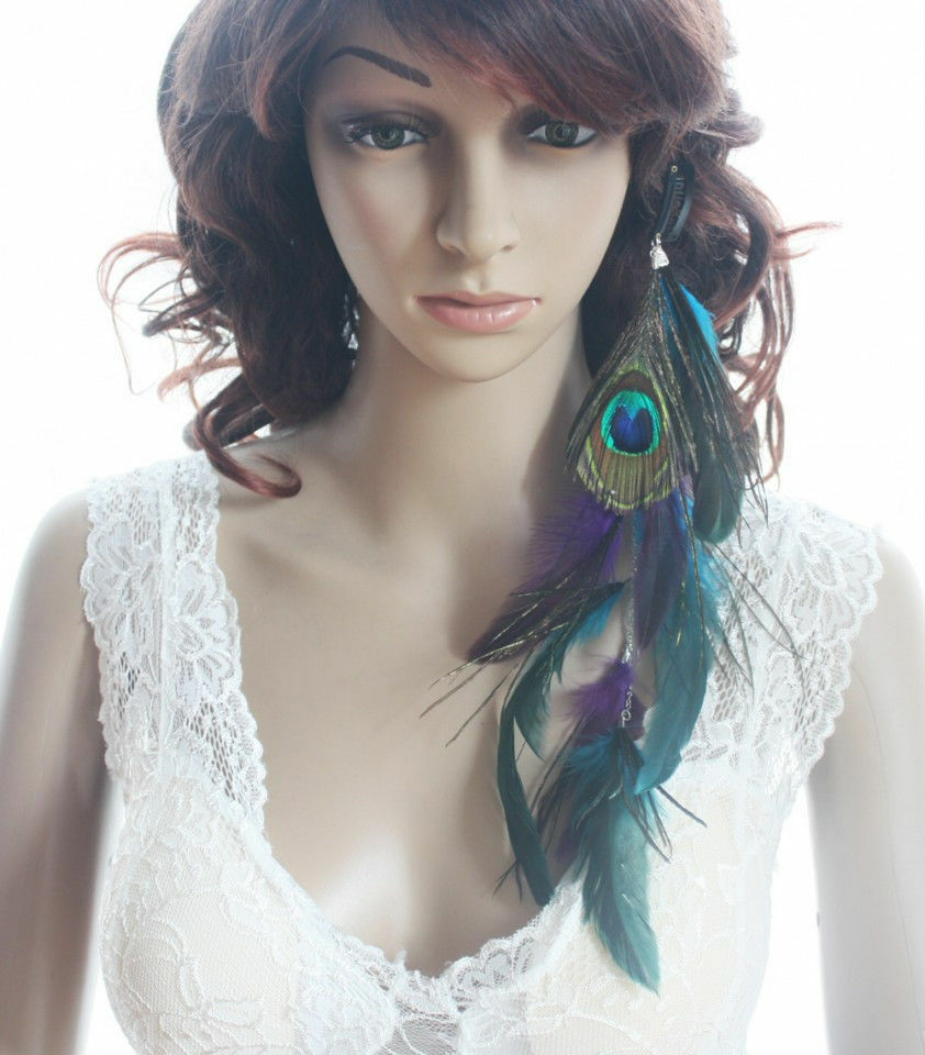 Boho Natural Exotic Feather Hair Extension Peacock Indian