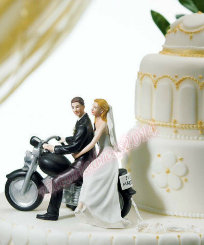 Resin Motorcycle Bride Amp Groom Figurine Fashion Party