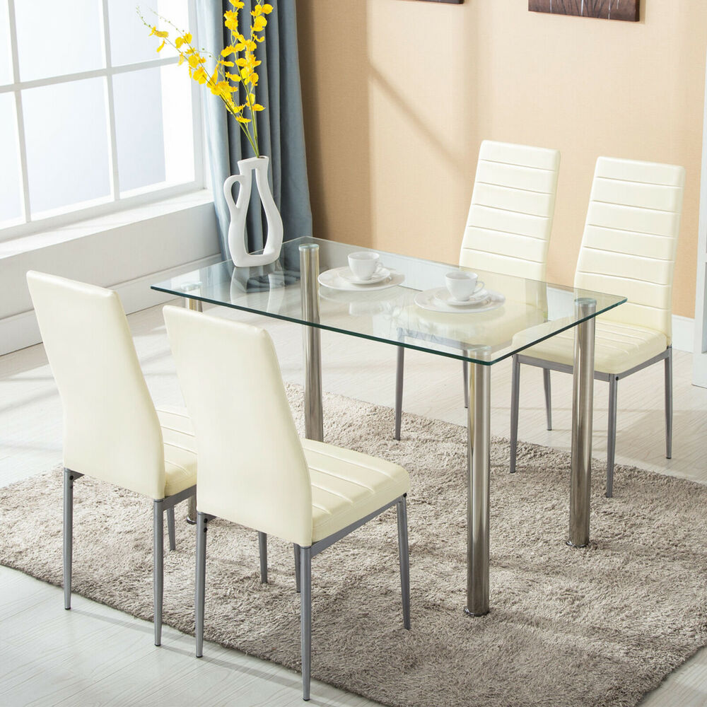 5 piece dining table set w 4 chairs glass metal kitchen for Glass dining room table set