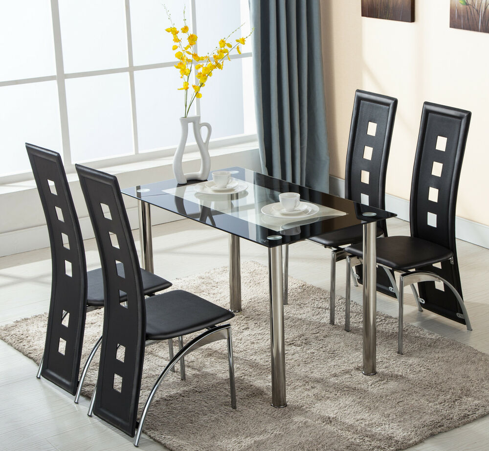 5 piece glass dining table set 4 leather chairs kitchen for Glass dining room table set