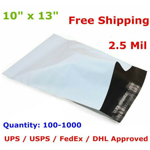 100-1000 10x13 Poly Mailers Shipping Envelopes Self Sealing Plastic Bags 2.5 Mil