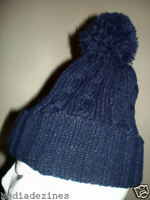 BOBBLE POM POM ROLY KNITTED BEANIE WOOLEY HAT/CAP NAVY