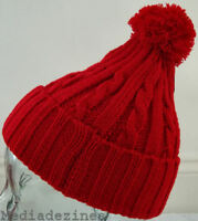 BOBBLE POM POM ROLY KNITTED BEANIE WOOLEY HAT/CAP RED