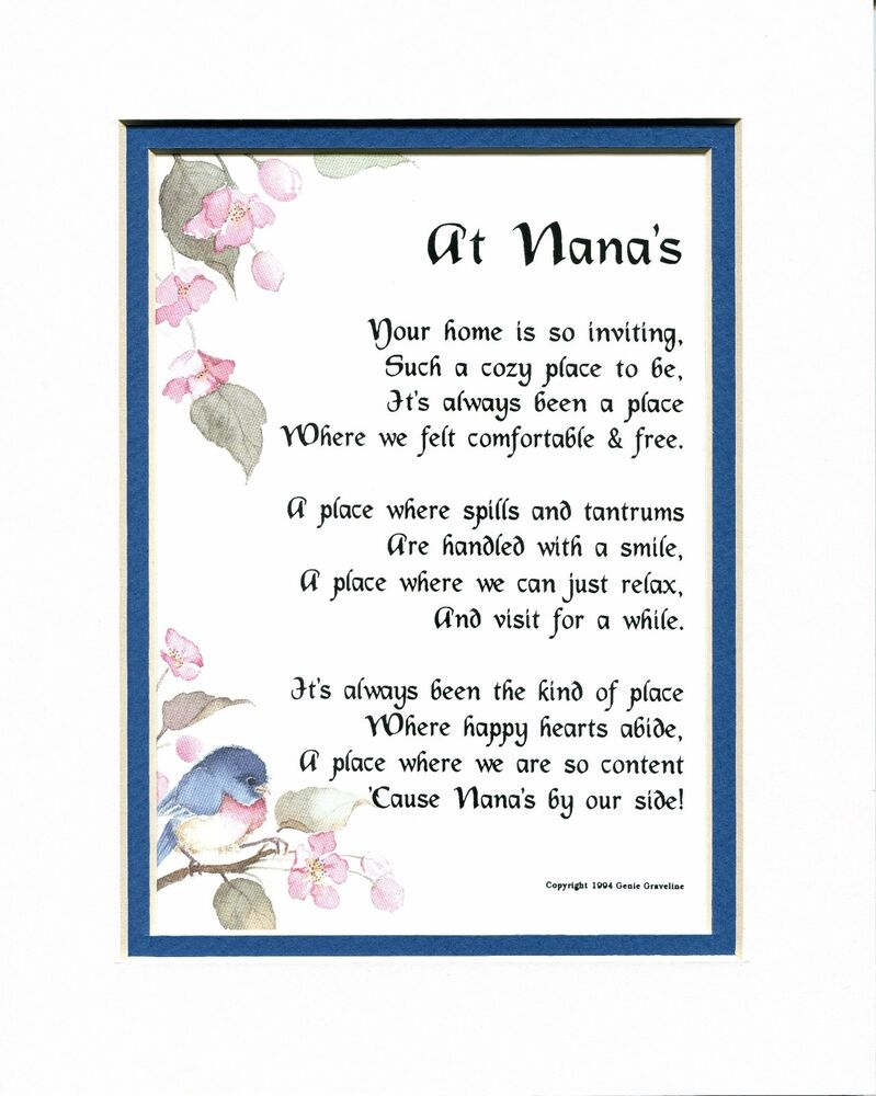 #33 Gift Poem Present For A Nana Grandmother 60th 70th ...