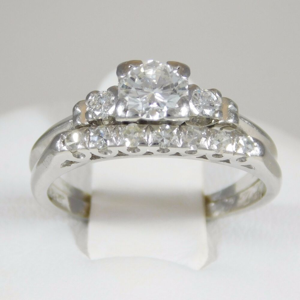 Diamond And Platinum Engagement Ring Wedding Band Set EBay