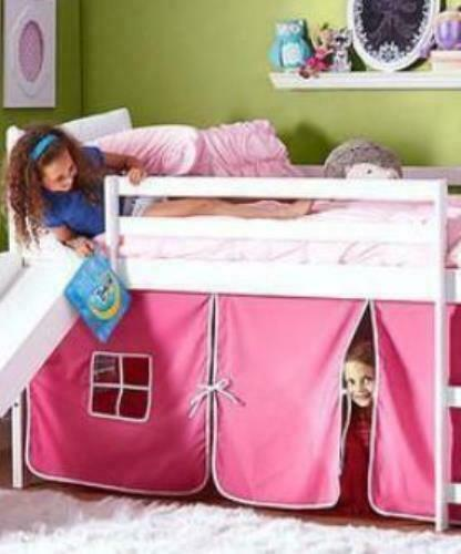 kids bunk beds with slide and pink tent ebay. Black Bedroom Furniture Sets. Home Design Ideas