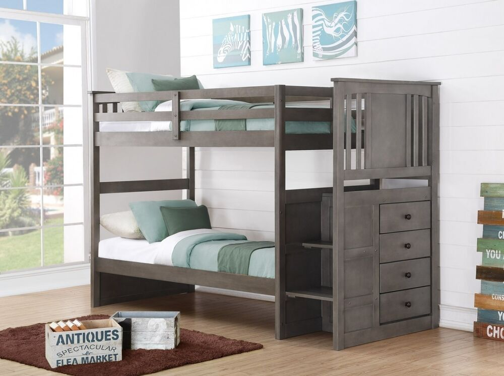 Boy Bedroom Storage: Gray Bunk Beds For Boys Or Girls With Stairs And Storage