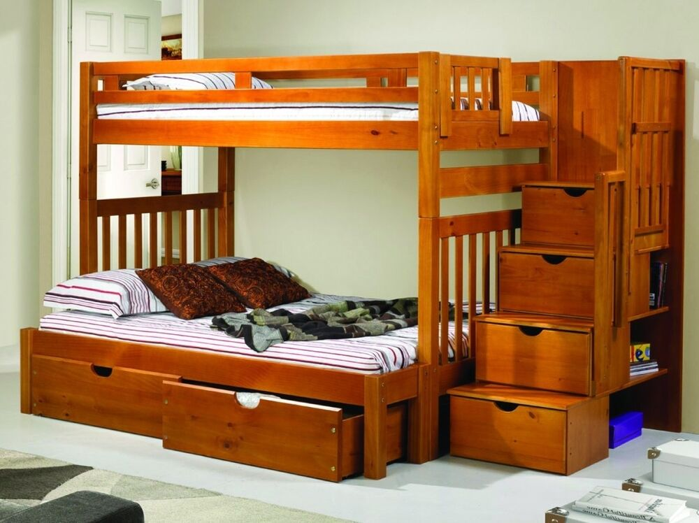 Bunk Beds For Youth In Twin Over Full With Shelves Ebay
