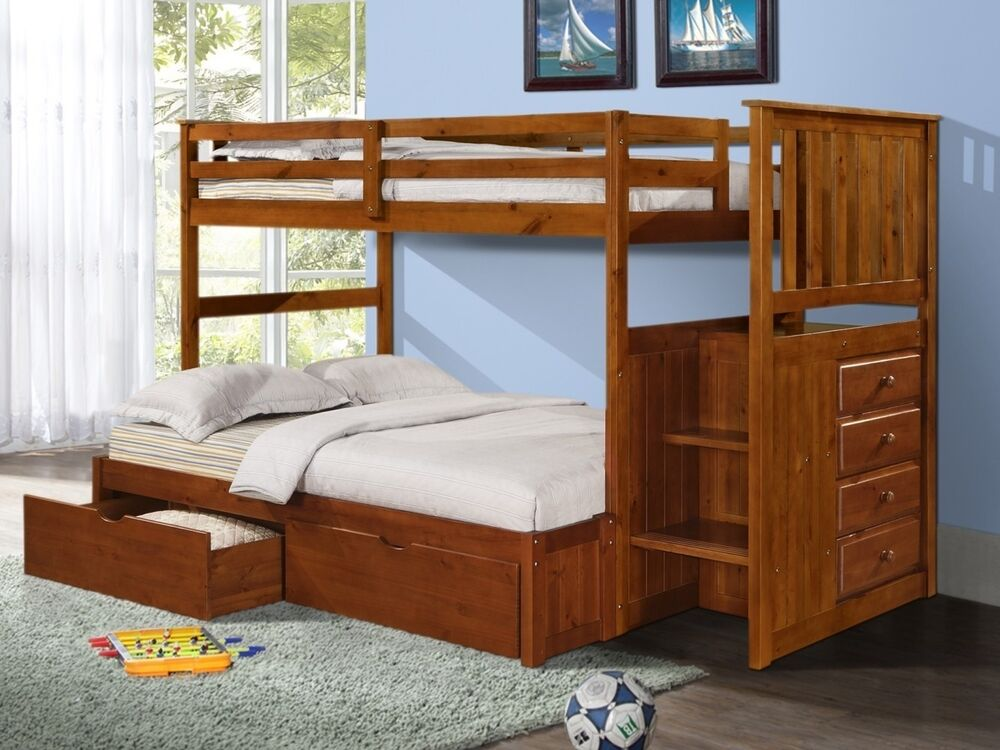 bunk beds with storage drawers stairs and built in dresser in twin full ebay. Black Bedroom Furniture Sets. Home Design Ideas
