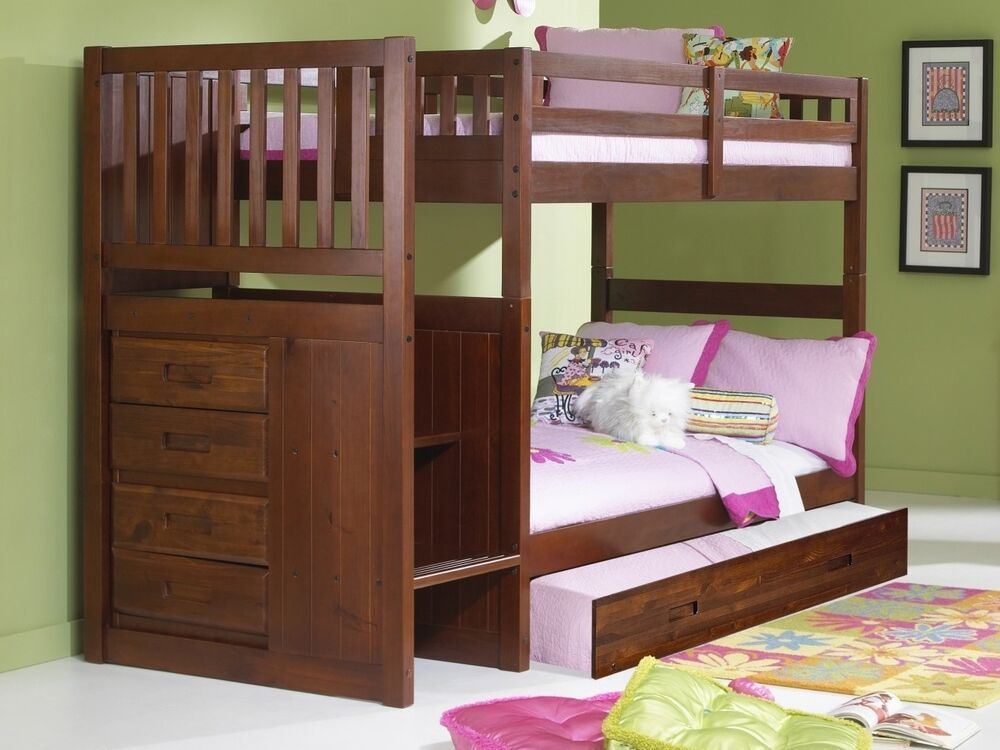bunk beds with stairs ebay. Black Bedroom Furniture Sets. Home Design Ideas