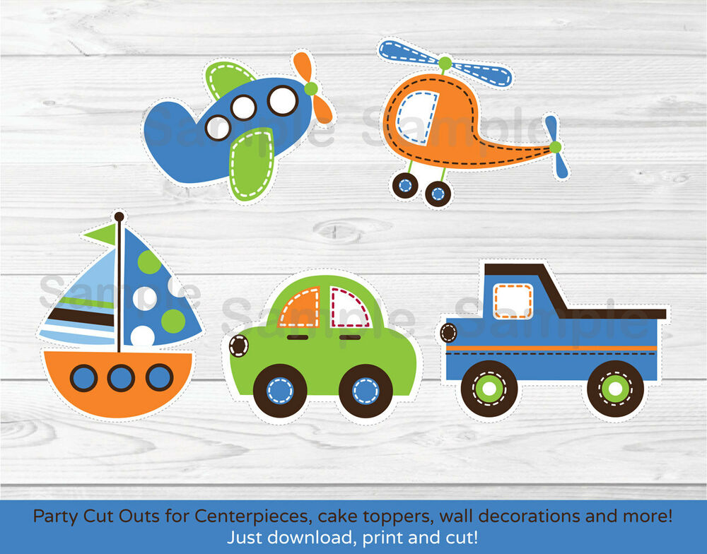 Transportation Vehicles Car Sailboat Plane Printable Party