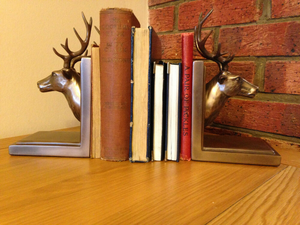 Stag bronzed bookends stylish unique home decoration new boxed xmas gift idea ebay - Stag book ends ...