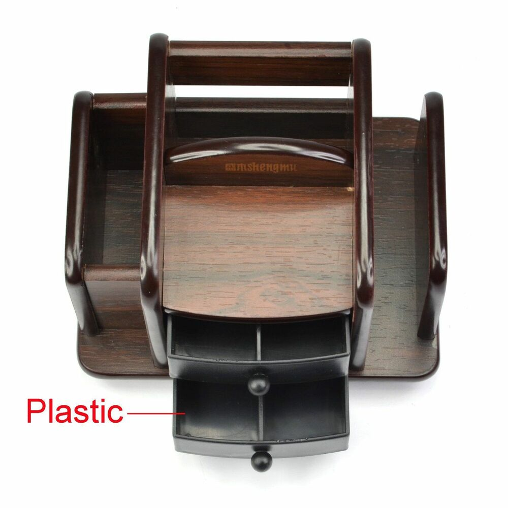 Wooden desktop office organizer desk stuff storage pencil - Spinning desk organizer ...