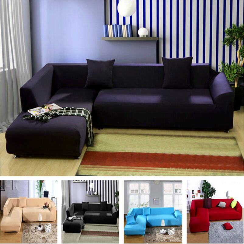 L Shape Sofa 5 Pure Colors Removable Stretch Sofa Slipcover Couch Pillow Covers Ebay