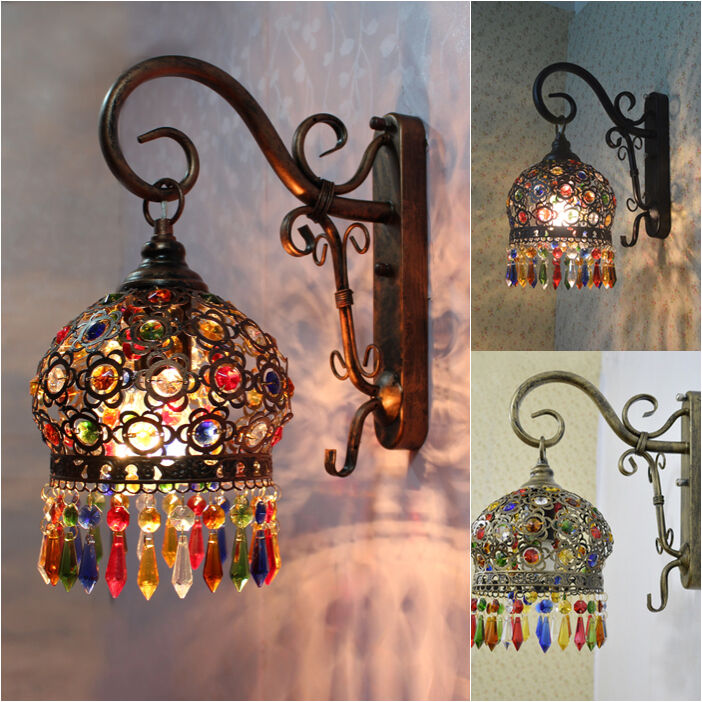 Mediterranean Style Lighting: New Mediterranean Style Color Crystal Light LED Wall Lamp