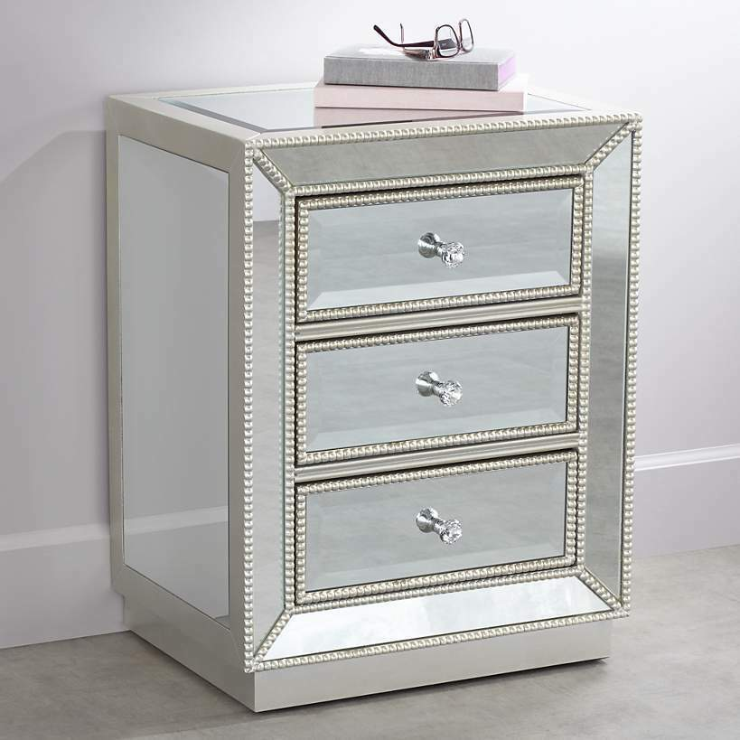 New 3 Drawer Mirrored Accent Table Nightstand Chest