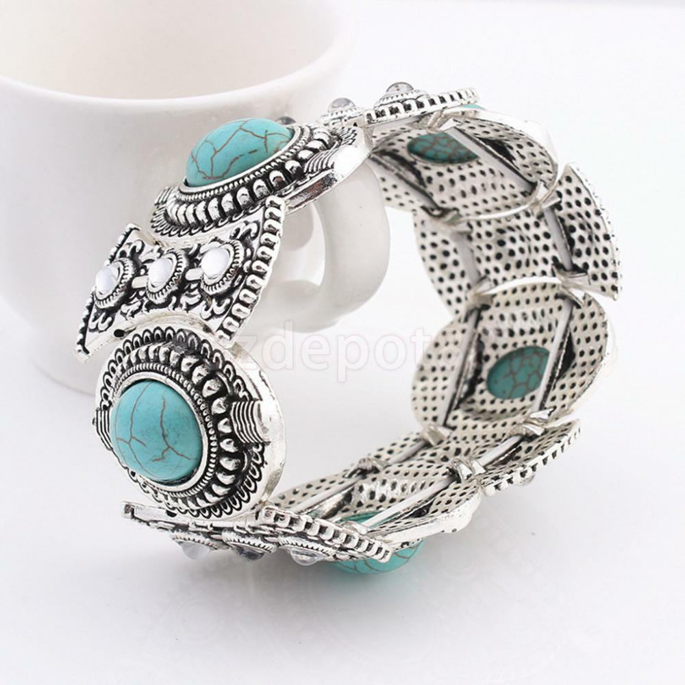 turquoise vintage silver bangle bohemian gypsy cuff. Black Bedroom Furniture Sets. Home Design Ideas