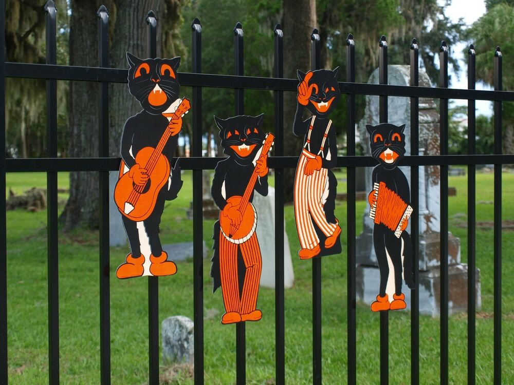 4 retro halloween scat cat band vintage party decorations Vintage halloween decorations uk