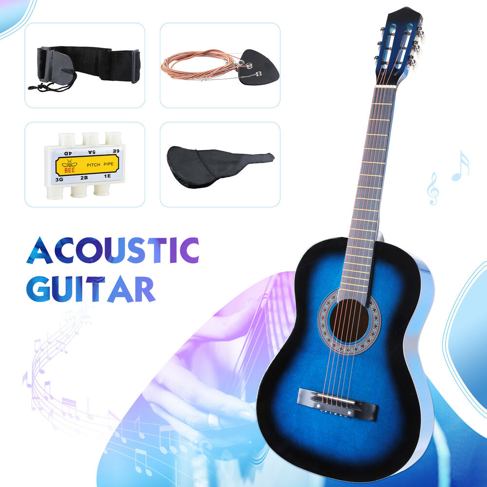 beginners acoustic guitar with guitar case strap tuner pick steel strings blue ebay. Black Bedroom Furniture Sets. Home Design Ideas