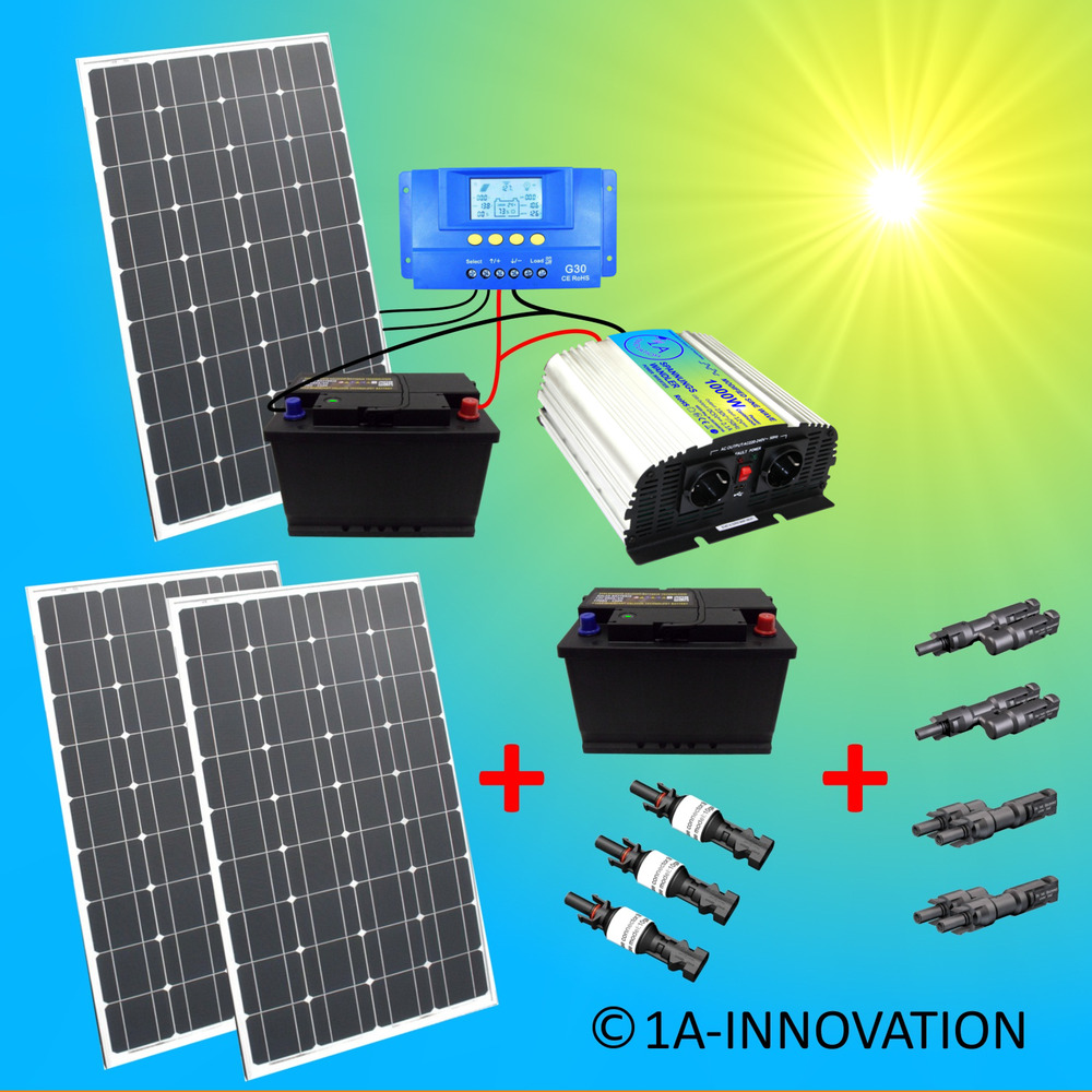 komplett 220v solaranlage akku 200ah 300w solarpanel 1000w camping watt garten 767278698383 ebay. Black Bedroom Furniture Sets. Home Design Ideas