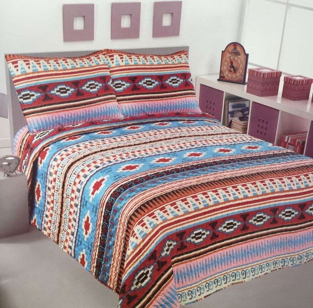 Aztec comforters, comforter sets, duvets, and western bedspreads are available in Twin, Full, Queen, King, and California King bed sizes. Add the finishing touch to your western decor with our selection of southwestern Aztec style bedding accessories including Aztec pillows, pillow shams, leather western bedskirts and western sheets.