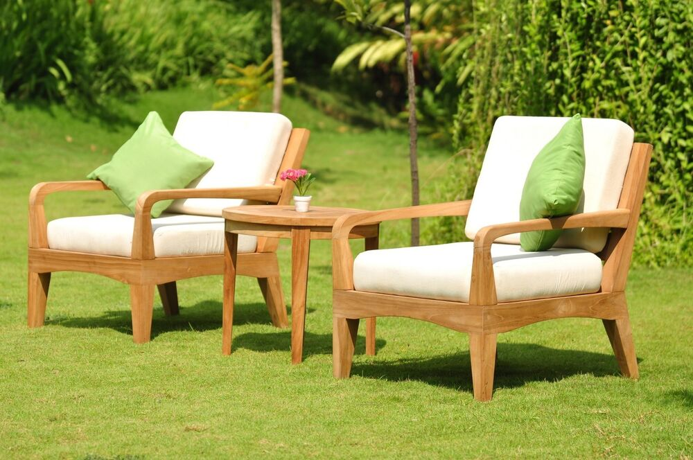noida a grade teak wood 3pc sofa lounge chair set round side tbl outdoor patio ebay. Black Bedroom Furniture Sets. Home Design Ideas