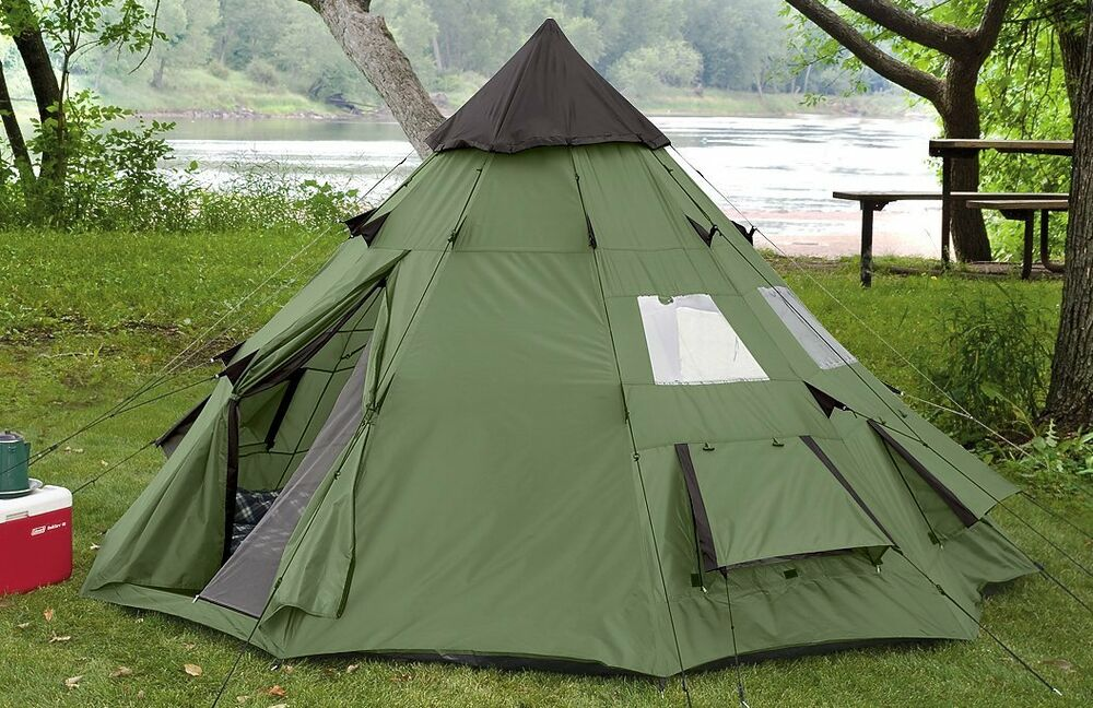 large camping tent 6 person family tepee outdoor shelter hiking equipment gear 885344170424 ebay. Black Bedroom Furniture Sets. Home Design Ideas