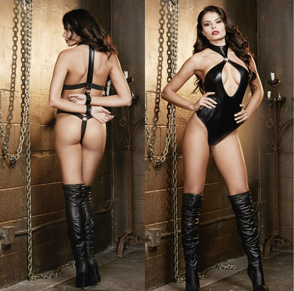 Black Faux Leather Wet Look Pvc Jumpsuit Cat Women Catsuit -4147