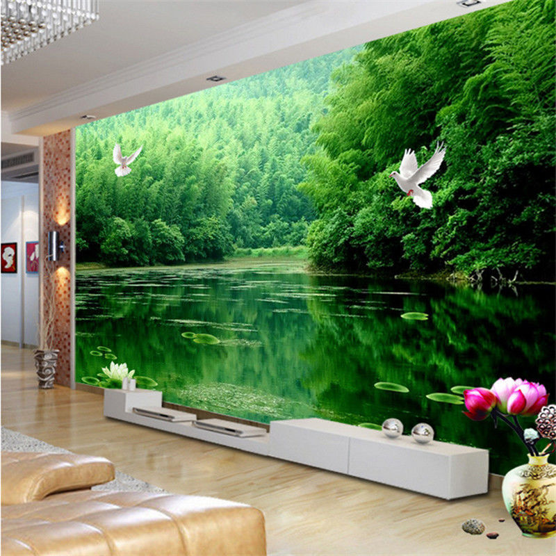 3d sitting room the bedroom tv background wallpaper bamboo for Papel de paisajes para paredes