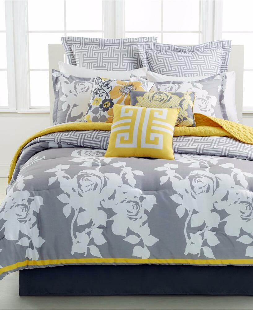 idea nuova south beach rose 10 piece full comforter set gray ivory yellow v15 ebay. Black Bedroom Furniture Sets. Home Design Ideas
