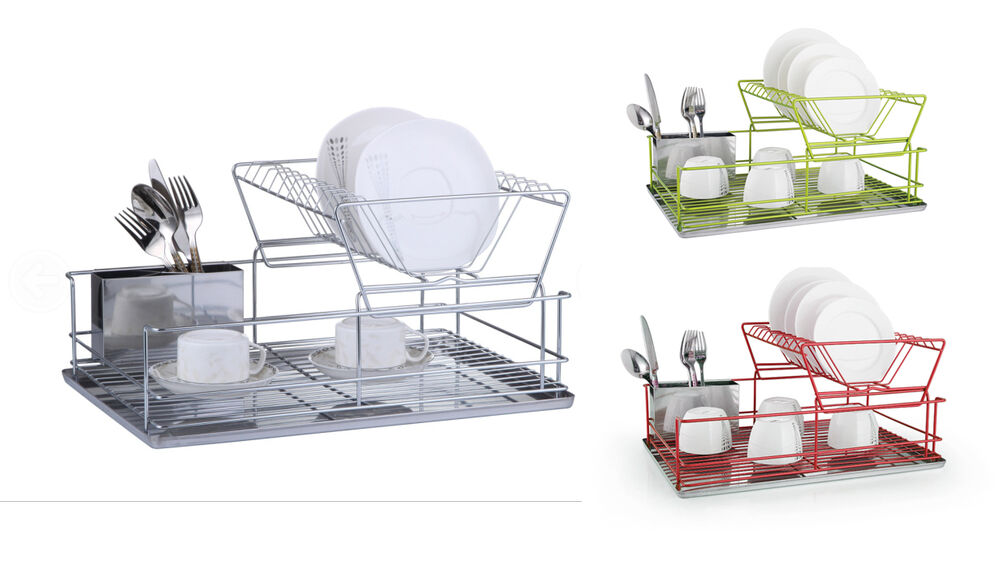 Dish Drainer 2 Tiers Stainless Steel Kitchen Washing Up