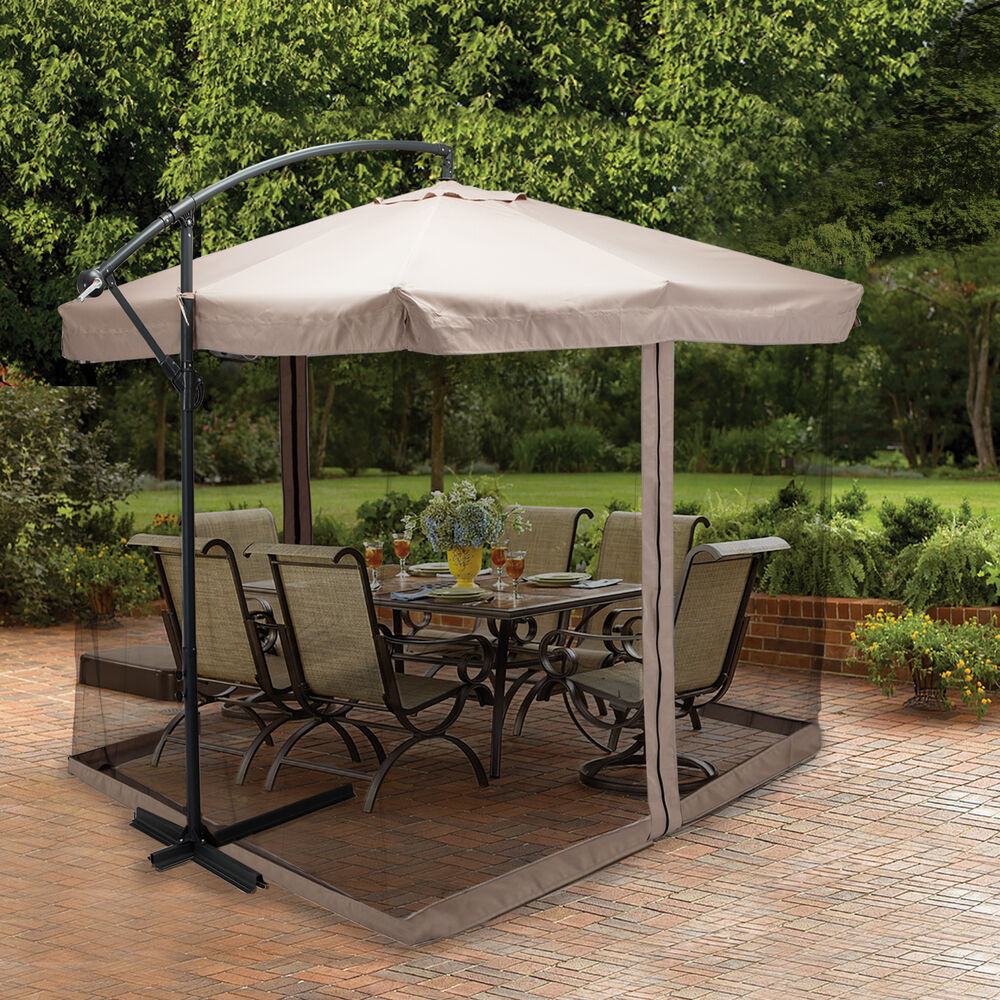 9x9 39 Hanging Offset Umbrella Outdoor Sun Shade W Mesh