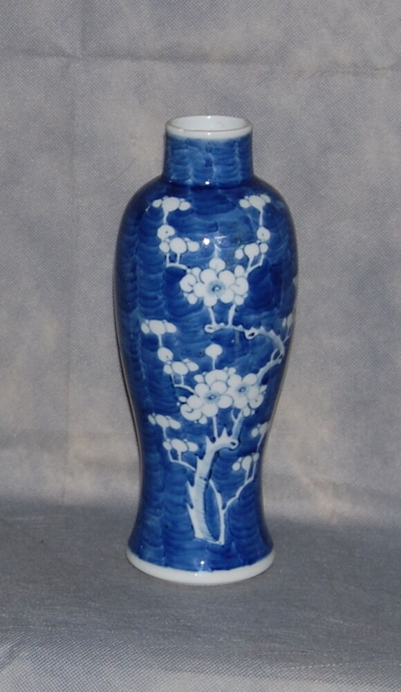 Antique Chinese Porcelain Blue White Prunus Blossom Tall Baluster Vase 19th C Ebay