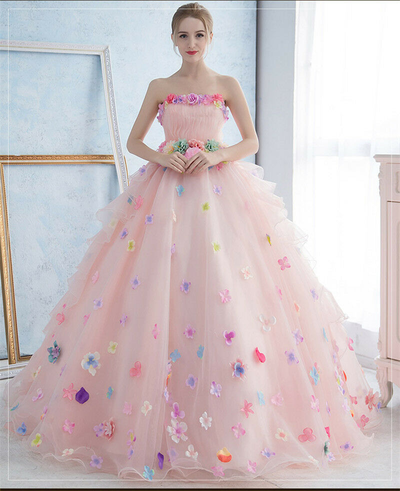 Pink White Korean Style Pregnant Wedding Dress Colorful