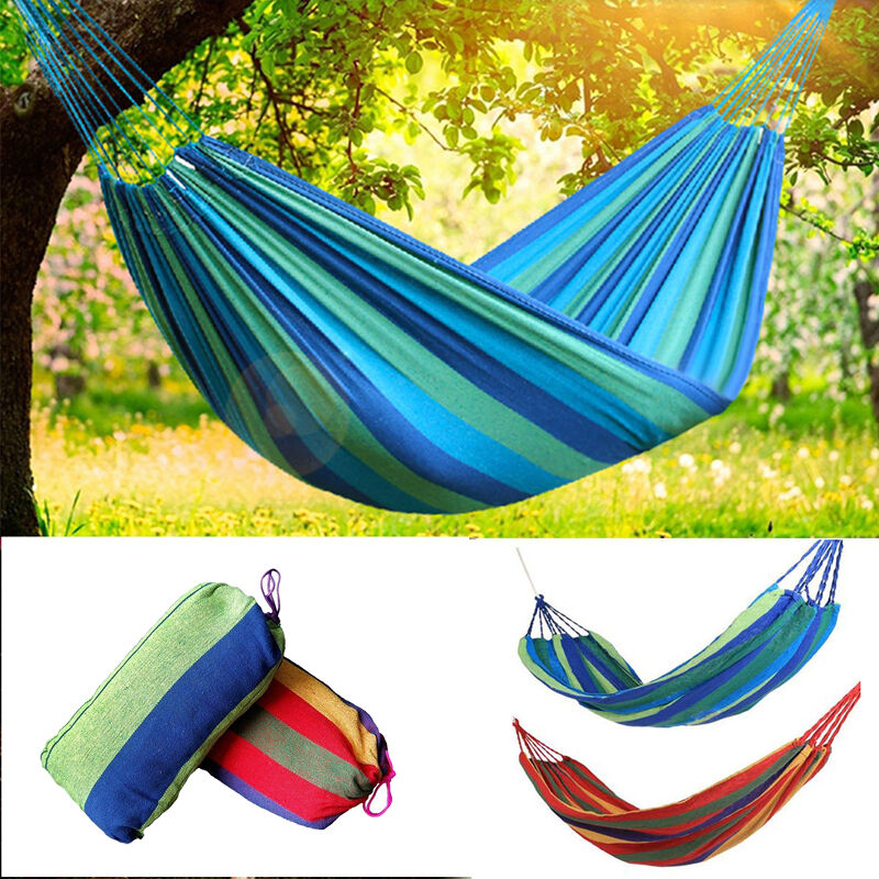 Portable 2 person cotton rope hanging hammock swing fabric for Fabric hammock chair swing
