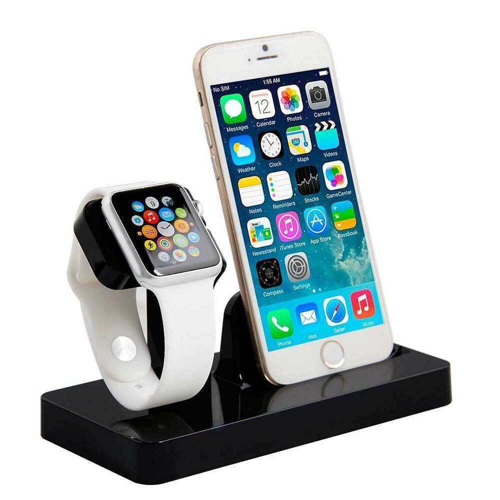 desktop charging docking station charger holder stand for apple iwatch iphone ebay. Black Bedroom Furniture Sets. Home Design Ideas