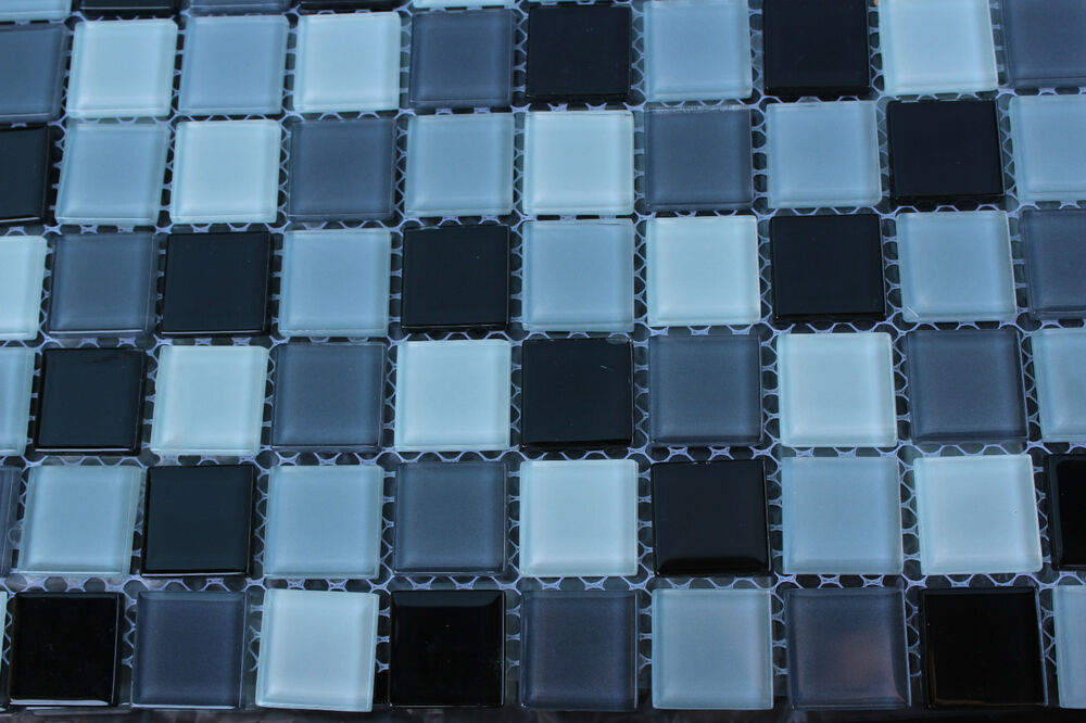 10 Sheet Black White Mosaic Tile Mesh Glass Stone Bathroom