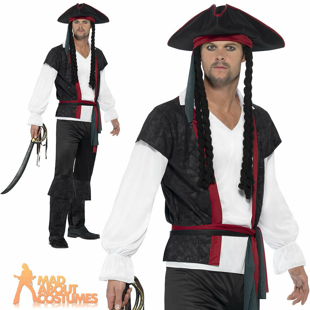 b093f3c10 Details about Adult Aye Aye Pirate Captain Costume Mens Buccaneer Fancy  Dress Outfit New
