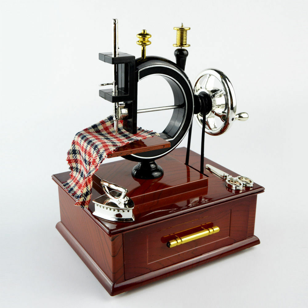 Large musical sewing machine music box vintage look retro for Best home decor sewing machine