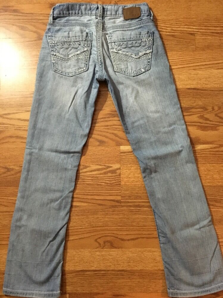 BKE Buckle Derek Jeans. RN #, BMX, P.O. , STYLE #ABM Material is % cotton. Size tag reads 36L, actual measurements are 36x Rise is 11 inches, bottom leg opening is inches across. Preowned in good condition, small amount of wear, few very small faint stains at back bottom of legs and one on back pocket, see pictures.