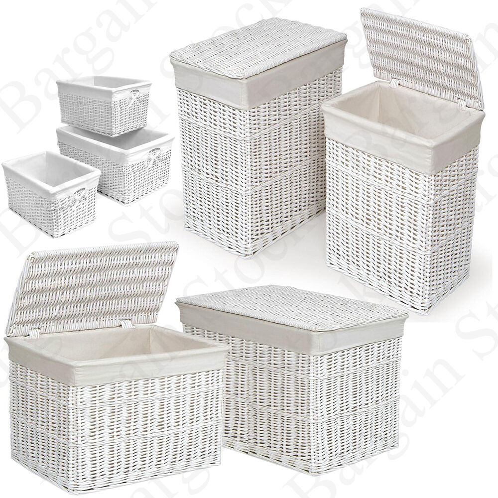 White wicker laundry chest rectangular large medium basket hamper w lid storage ebay - Rattan laundry basket with lid ...