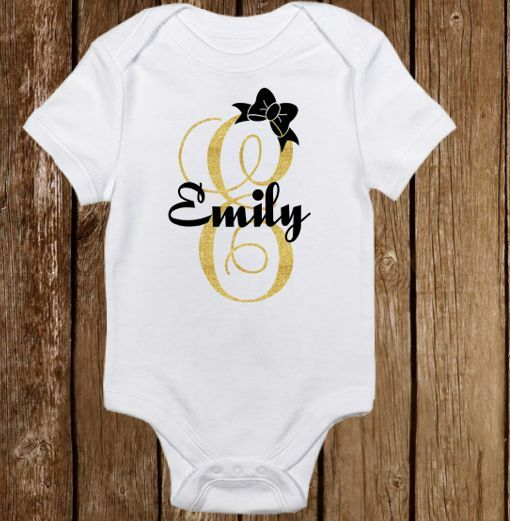 Unique Sparkle Custom Name Cute Baby Girl Clothes
