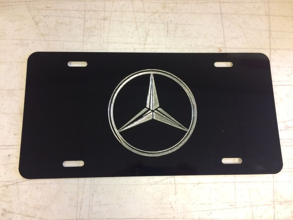 Mercedes logo car tag diamond etched on black aluminum for Mercedes benz license plate logo